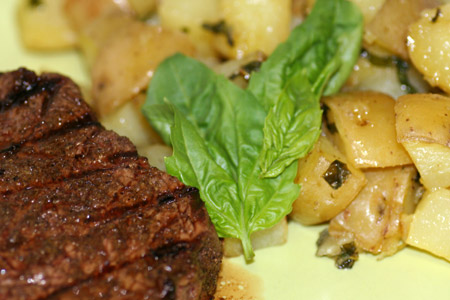 Cumin Rubbed Sirloin with Basil Roasted Potatoes