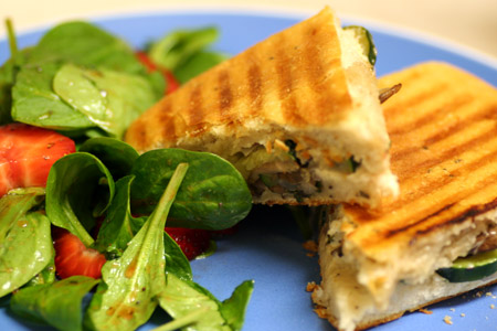 Zucchini & Mushroom Panini with Strawberry Spinach Salad