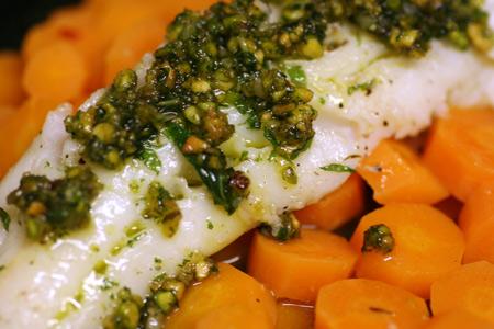 Sautéed Bass with Mint Pesto and Spiced Carrots