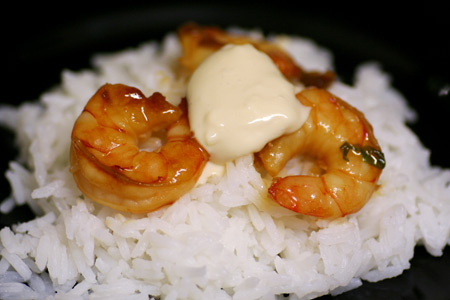 Soy Sake Shrimp with Ginger Aioli