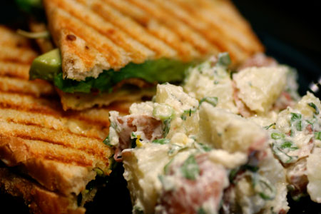 BLT Panini with Lemon and Herb Potato Salad