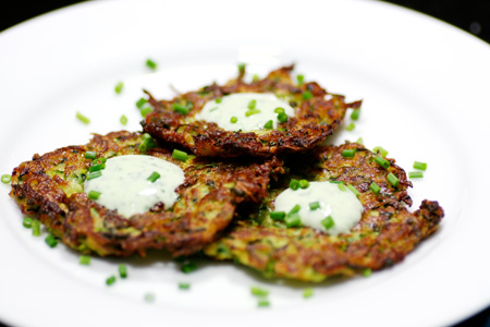 Zucchini Pancakes with Basil Chive Cream