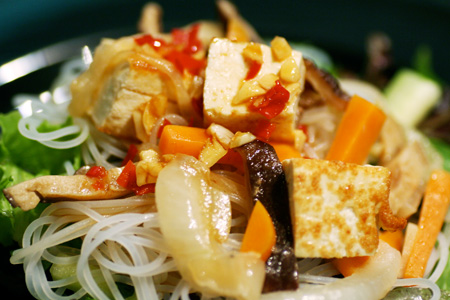 Stir Fry Veggies and Noodles with Soy Lime Dipping Sauce