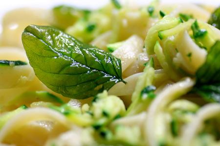 Fettucine with Zucchini and Crispy Basil
