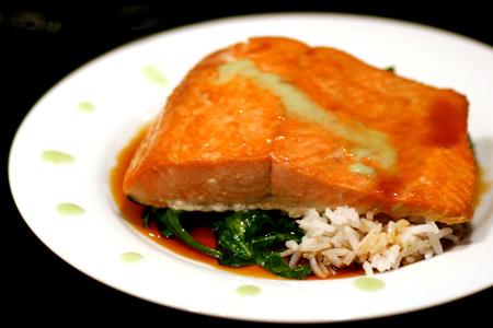 Salmon with Soy-Honey Glaze and Wasabi