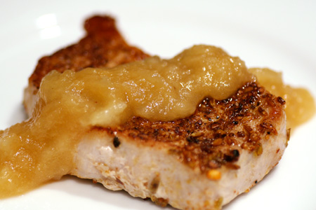 Pork Chops with Toasted Spice Rub and Apple Dressing