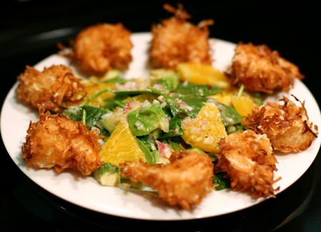 Coconut Shrimp & Asian Orange and Avocado Spinach Salad