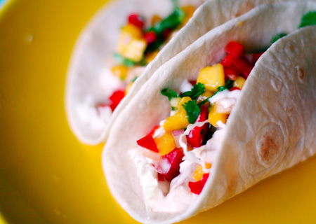 Fish Tacos with Mango Salsa and Cilantro Lime Sauce | Love and Olive Oil