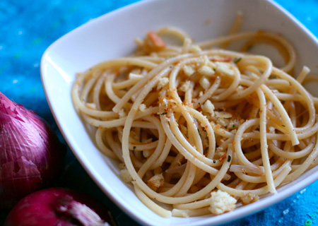 pasta with spicy anchovy sauce and thyme bread crumbs
