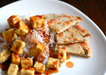 Saucy Tofu and Scallion Pancakes