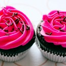 Chocolate Chip Cupcakes with Hot Pink Vanilla B