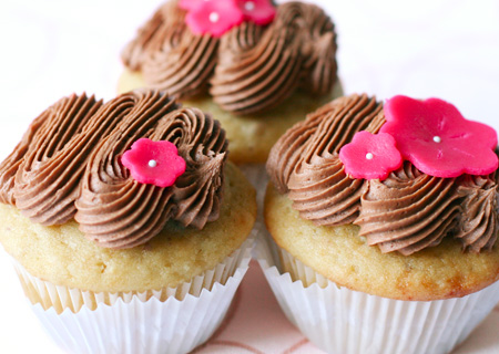 Vegan Almond Cupcakes with Chocolate Cream Frosting and Marzipan Flowers