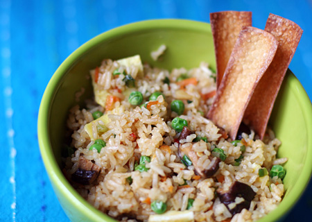 Fried Rice and Baked Wonton Chips