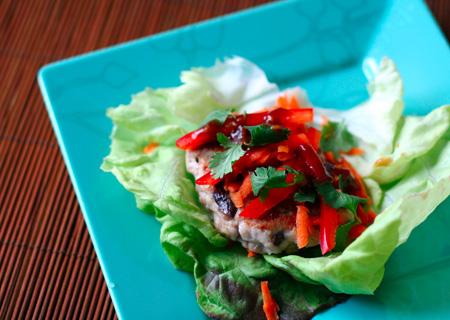 Asian Pork and Mushroom Burger Wraps