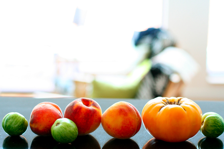 Heirloom Tomatoes and Peaches from the Farmers Market