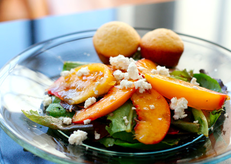 Garden Greens with Yellow Tomatoes and Peaches
