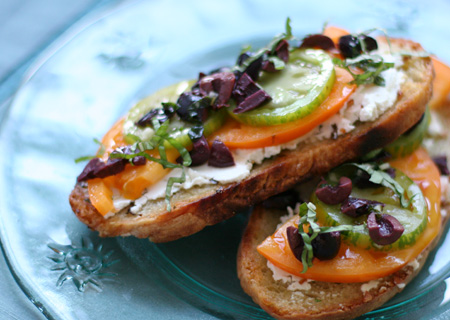 Toasted Tomato, Basil, and Goat Cheese Sandwiches