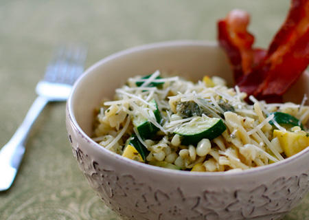 Zucchini, Corn and Basil Fusili with Bacon