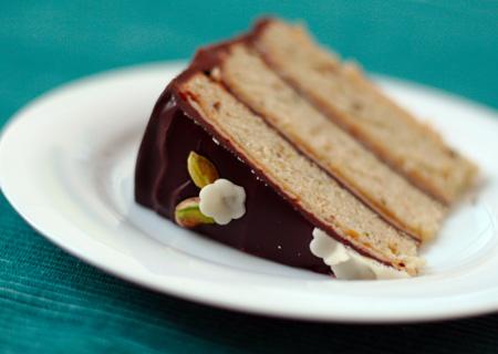 Pistachio Marzipan Petit Four Cake