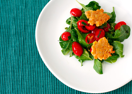 Corn Fritters with Arugula and Warm Tomato Salad