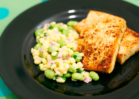 Corn and Edamame Salad with Miso Tofu