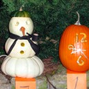 Creative Halloween Pumpkin Carving - Clock & Snowman