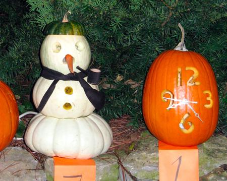 Creative Halloween Pumpkin Carving - Clock & Snowman