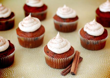 Pumpkin Chip Cupcakes with Cinnamon Rum Buttercream