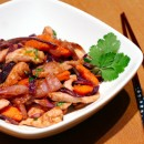 Chicken Stir-fry with Yams, Red Cabbage, and Hoisin