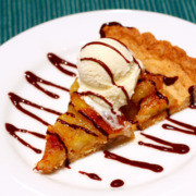 Caramelized-Banana Tart with Bittersweet Chocolate Sauce