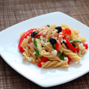Fusilli With Peppers, Zucchini, and Feta