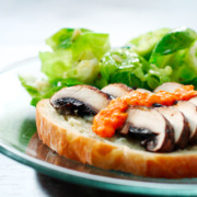 Portobello Sandwiches with Gorgonzola Butter and Red Pepper Vinaigrette