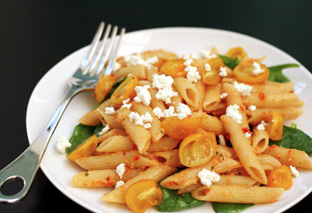 Red Pesto Penne with Roasted Tomatoes and Goat Cheese