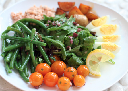 Salmon Niçoise Salad with Black Olive Vinaigrette