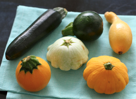 Six varieties of summer squash