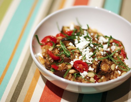 Barley Risotto with Eggplant and Tomatoes