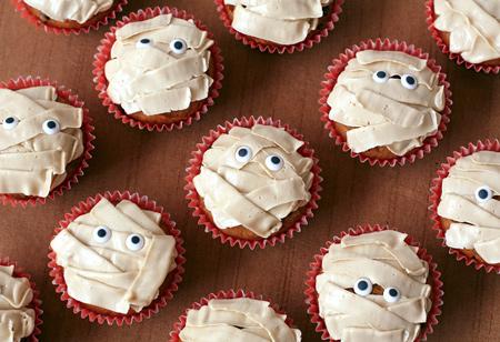 Pumpkin Chip Mummy Cupcakes with Brown Sugar Buttercream