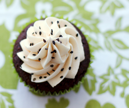 Black Pearl Cupcakes with Wasabi, Ginger, and Black Sesame Seeds