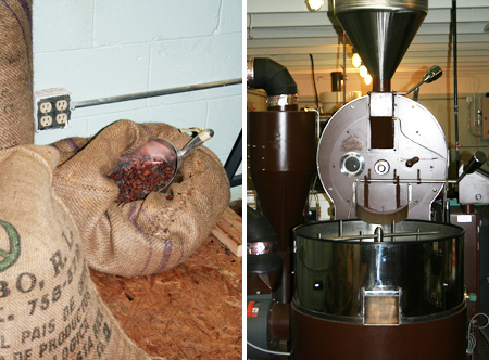 Raw Cocoa Beans and Cocoa Bean Roaster