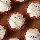 Pumpkin Chocolate Chip Mummy Cupcakes with Brown Sugar Buttercream