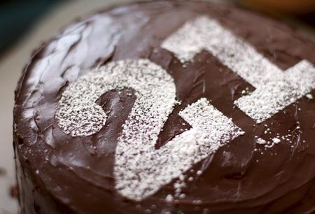 Icing sugar on chocolate cake