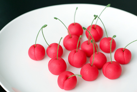 Cute Marzipan Cherry Cupcake Toppers