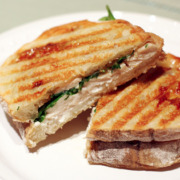Chicken Panini with Fig Jam, Arugula, and Blue Cheese