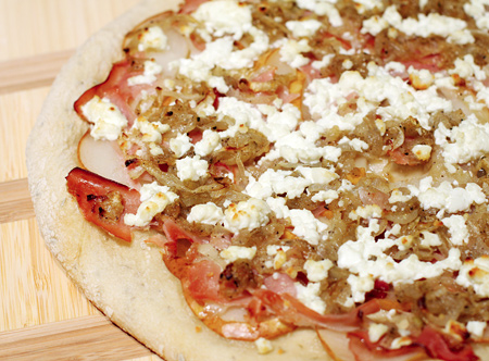 Pear, Proscuitto, and Goat Cheese Pizza