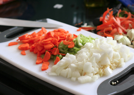 Chopped trinity: onion, carrot, celery