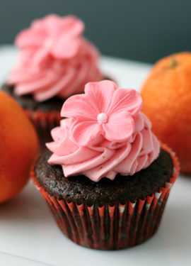 Chocolate Olive Oil and Blood Orange Cupcakes