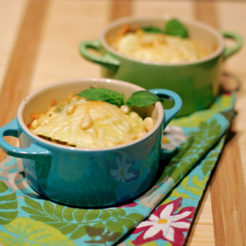 Ravioli Gratins with Goat Cheese and Basil Pistou