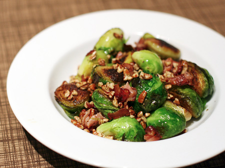 Brussels Sprouts with Proscuitto and Pecans