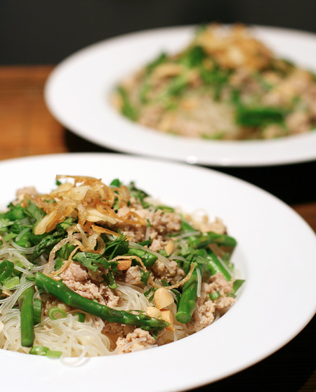 Thai Noodles with Ground Chicken and Crispy Shallots