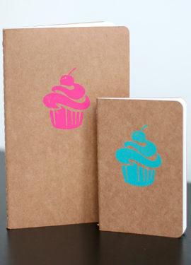 Block Printed Cupcake Moleskine Notebook